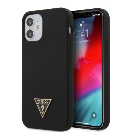 GUHCP12SLSTMBK Guess Silicone Metal Triangle Zadni Kryt pro iPhone 12 mini 5.4 Black