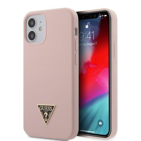 Husa Cover Guess Silicone Metal Triangle pentru iPhone 12 Mini Light Pink