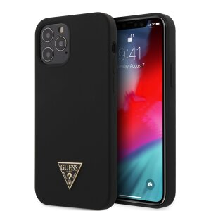 Husa Cover Guess Silicone Metal Triangle pentru iPhone 12/12 Pro Black