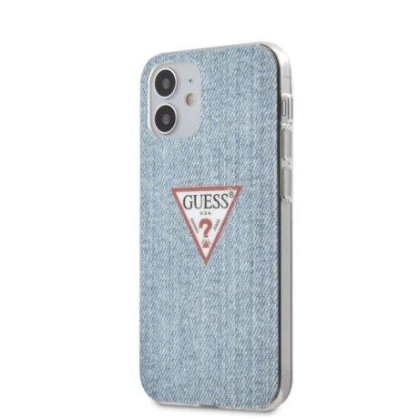 Husa Cover Guess TPU Denim Triangle pentru iPhone 12 Mini Light Blue