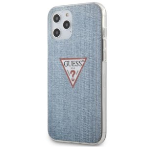 Husa Cover Guess TPU Denim Triangle pentru iPhone 12 Pro Max Light Blue