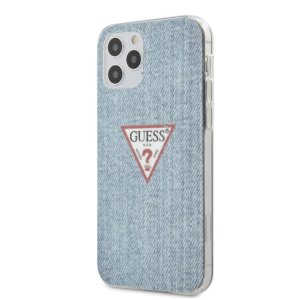 Husa Cover Guess TPU Denim Triangle pentru iPhone 12/12 Pro  Light Blue