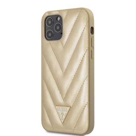 Husa Cover Guess V Quilted pentru iPhone 12 Pro Max Gold