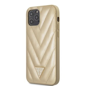 Husa Cover Guess V Quilted pentru iPhone 12/12 Pro Gold