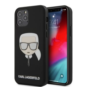 Husa Cover Karl Lagerfeld Glitter Head pentru iPhone 12/12 Pro Black
