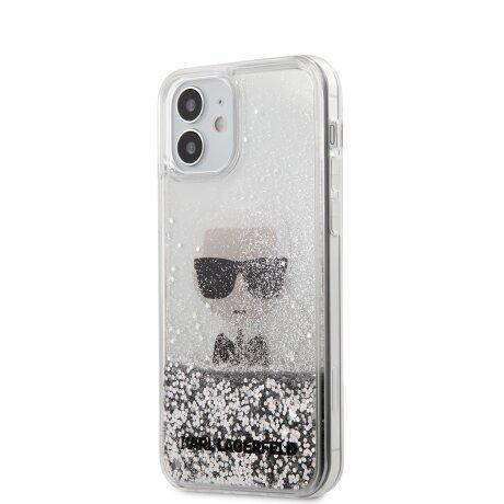 Husa Cover Karl Lagerfeld Glitter Iconic pentru iPhone 12 Mini Silver