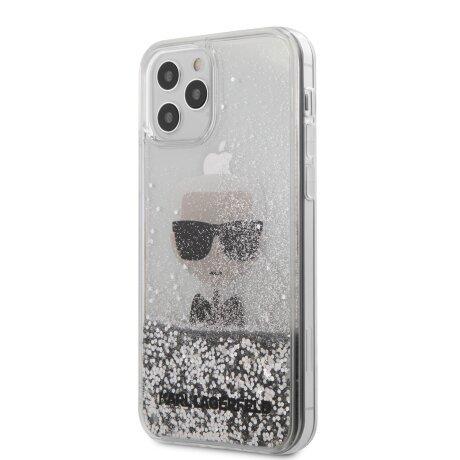 Husa Cover Karl Lagerfeld Glitter Iconic pentru iPhone 12 Pro Max Silver