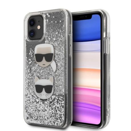 Husa Cover Karl Lagerfeld Glitter Karl&Choupette pentru iPhone 11 Argintiu