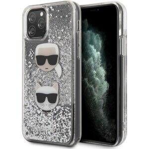 Husa Cover Karl Lagerfeld Glitter Karl&Choupette pentru iPhone 11 Pro Max Argintiu
