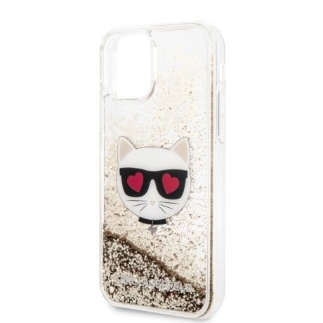 Husa Cover Karl Lagerfeld Heads Glitter Kryt Pro pentru iPhone 11 Gold