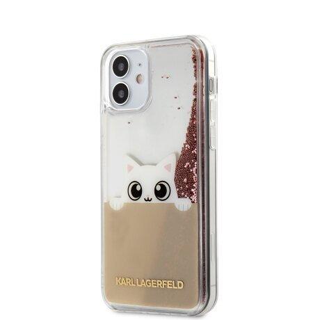 Husa Cover Karl Lagerfeld Liquid Glitter Peek a Boo pentru iPhone 12 Mini Pink