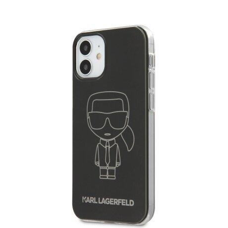Husa Cover Karl Lagerfeld Metallic Iconic Outline pentru iPhone 12 Mini Black