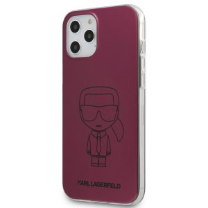 Husa Cover Karl Lagerfeld Metallic Iconic Outline pentru iPhone 12 Pro Max Pink