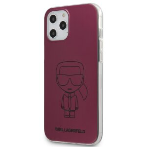 Husa Cover Karl Lagerfeld Metallic Iconic Outline pentru iPhone 12/12 Pro  Pink