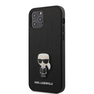 Husa Cover Karl Lagerfeld Saffiano Iconic pentru iPhone 12 Pro Max Black