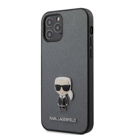 Husa Cover Karl Lagerfeld Saffiano Iconic pentru iPhone 12 Pro Max Silver