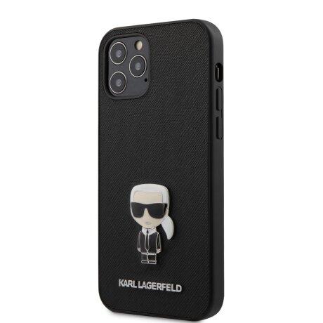 Husa Cover Karl Lagerfeld Saffiano Iconic pentru iPhone 12/12 Pro  Black