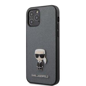 Husa Cover Karl Lagerfeld Saffiano Iconic pentru iPhone 12/12 Pro Silver