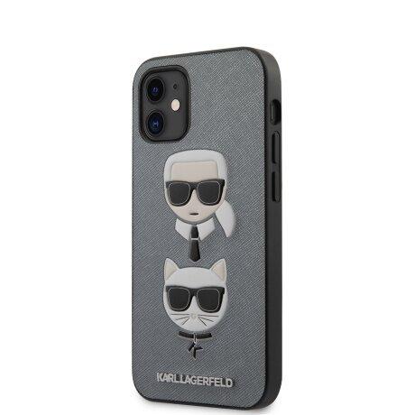 Husa Cover Karl Lagerfeld Saffiano K&C Heads pentru iPhone 12 Mini Silver
