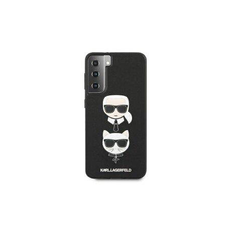 Husa Cover Karl Lagerfeld Saffiano K&C Heads pentru Samsung Galaxy S21 Black