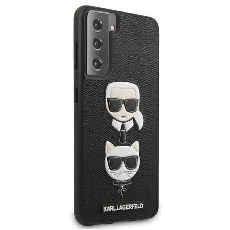 Husa Cover Karl Lagerfeld Saffiano K&C Heads pentru Samsung Galaxy S21 Plus Black