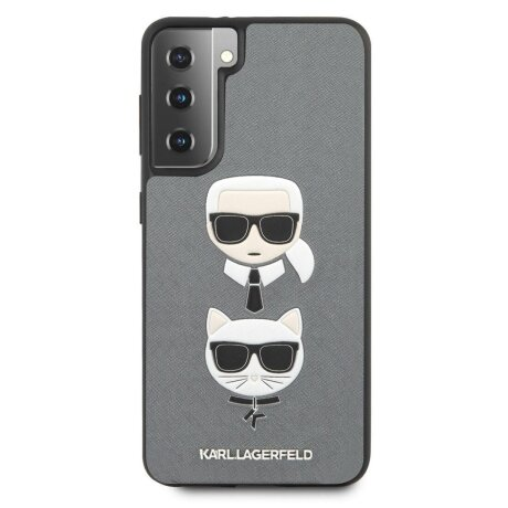 Husa Cover Karl Lagerfeld Saffiano K&C Heads pentru Samsung Galaxy S21 Plus Silver