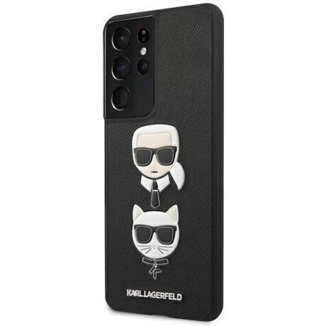 Husa Cover Karl Lagerfeld Saffiano K&C Heads pentru Samsung Galaxy S21 Ultra Black
