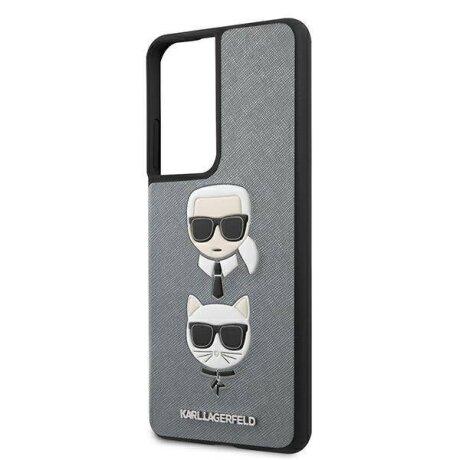 Husa Cover Karl Lagerfeld Saffiano K&C Heads pentru Samsung Galaxy S21 Ultra Silver