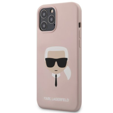 Husa Cover Karl Lagerfeld Silicone Head pentru iPhone 12 Pro Max Light Pink