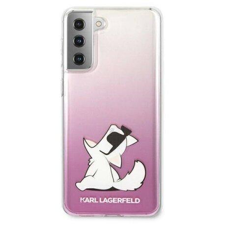 Husa Cover Karl Lagerfeld TPU Choupette Eat Gradient pentru Samsung Galaxy S21 Pink