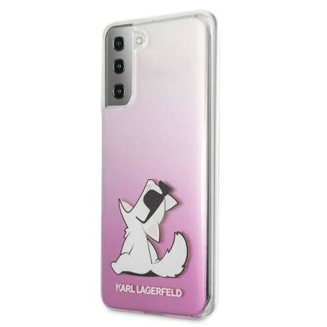 Husa Cover Karl Lagerfeld TPU Choupette Eat Gradient pentru Samsung Galaxy S21 Plus Pink