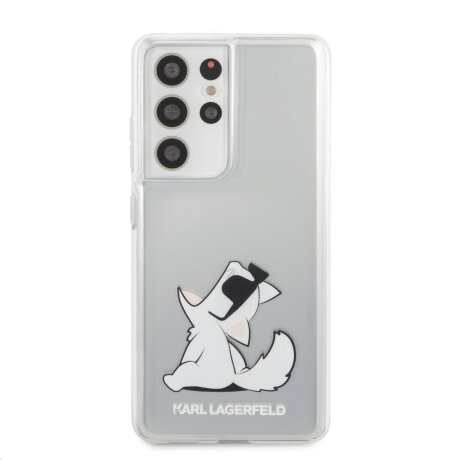 Husa Cover Karl Lagerfeld TPU Choupette Eat pentru Samsung Galaxy S21 Ultra Clear