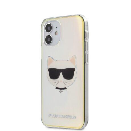 Husa Cover Karl Lagerfeld TPU Choupette Head Iridescente pentru iPhone 12 Mini Clear
