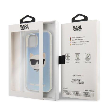 Husa Cover Karl Lagerfeld TPU Choupette Head Iridescente pentru iPhone 12 Pro Max Clear