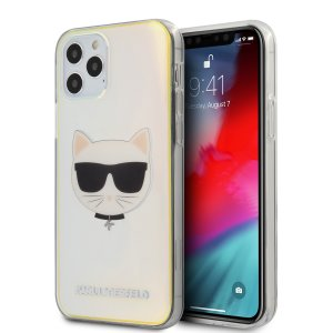 Husa Cover Karl Lagerfeld TPU Choupette Head Iridescente pentru iPhone 12/12 Pro Clear