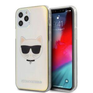 Husa Cover Karl Lagerfeld TPU Choupette Head Iridescente pentru iPhone 12/12 Pro Clear