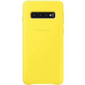 Husa Cover Leather Samsung pentru Samsung Galaxy S10 Galben