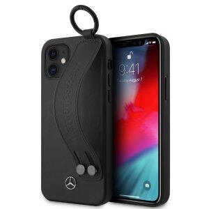 Husa Cover Mercedes Leather Hand Strap pentru iPhone 12 Mini Black