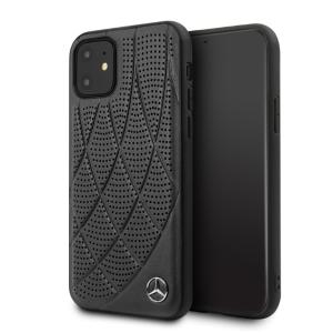 Husa Cover Mercedes Perforated Leather pentru iPhone 11, Negru