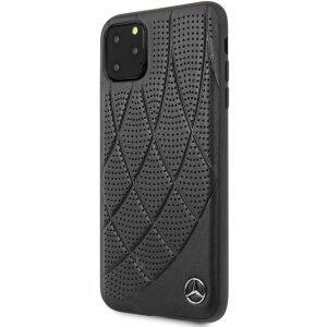 Husa Cover Mercedes Perforated Leather pentru iPhone 11 Pro Max, Negru