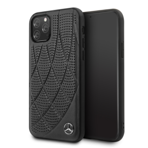 Husa Cover Mercedes Perforated Leather pentru iPhone 11 Pro, Negru