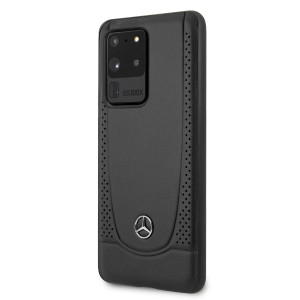 Husa Cover Mercedes Perforation pentru Samsung Galaxy S20 Ultra Negru