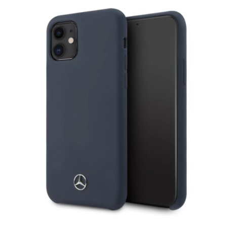 Husa Cover Mercedes Silicone pentru iPhone 11 Blue