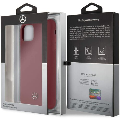 Husa Cover Mercedes Silicone pentru iPhone 11 Pro Max MEHCN65SILRE Rosu