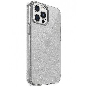 Husa Cover TPU Uniq LifePro Tinsel Glitter pentru iPhone 12 Pro Max Transparent