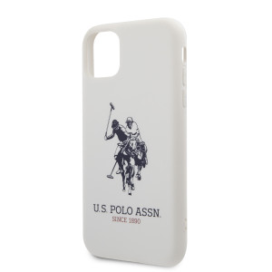 Husa Cover US Polo Silicone Effect pentru iPhone 11 Alb