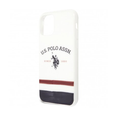Husa Cover US Polo TPU Tricolor Blurred pentru iPhone 11 Pro Max  White