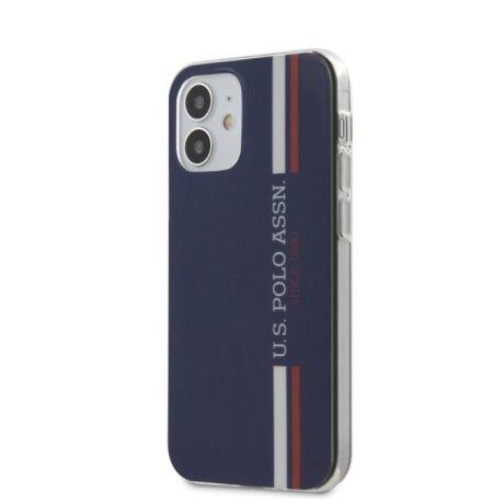 Husa Cover US Polo TPU Tricolor Vertical Stripes pentru iPhone 12 Mini Navy