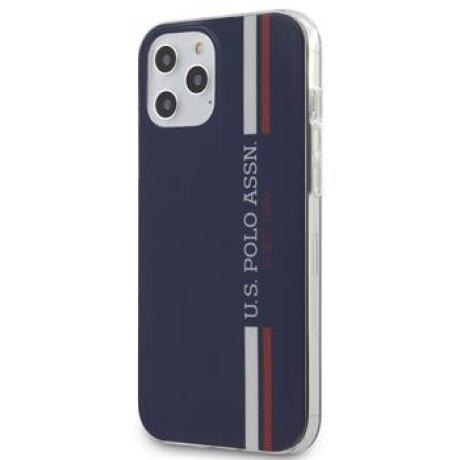 Husa Cover US Polo TPU Tricolor Vertical Stripes pentru iPhone 12 Pro Max Navy