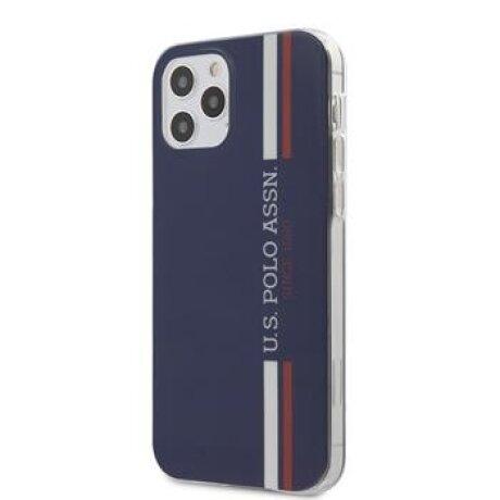 Husa Cover US Polo TPU Tricolor Vertical Stripes pentru iPhone 12/12 Pro Navy